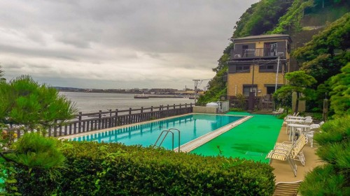 The Iwamotoro's pool outside in Enoshima island, Kanagawa prefecture, Japan.