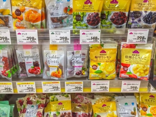 sweets and candies which you can get at AEON, Japan.