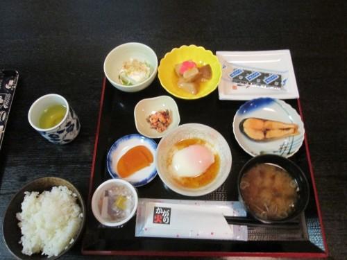 Breakfast at Hachiman onsen at Murakami, Niigata prefecture, Japan.