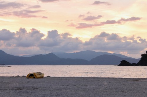 Boats at Sunset on Wakasa Wada Beach, Fukui prefecture