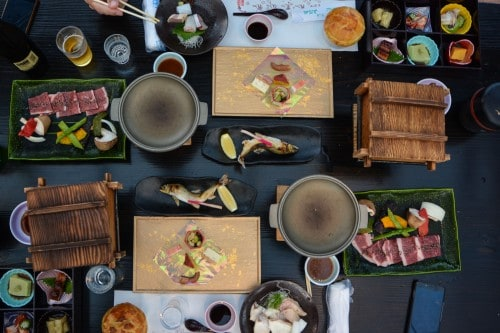Dinner cruise in Hita city, Oita prefecture, Japan.