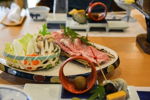 Shabu Shabu, the main dish for dinner at Mifuneyama Kanko Hotel, Saga prefecture, Kyushu.