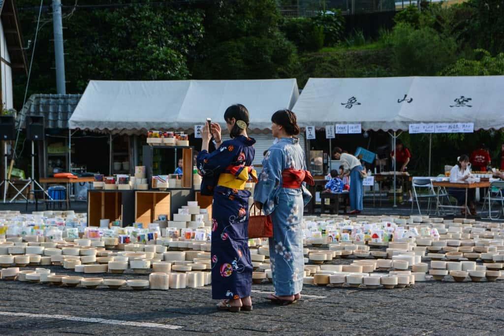 Japanese women wearing traditional yukata in summer