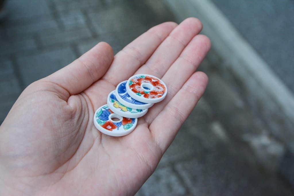 handmade porcelain coins in Imari, Japan