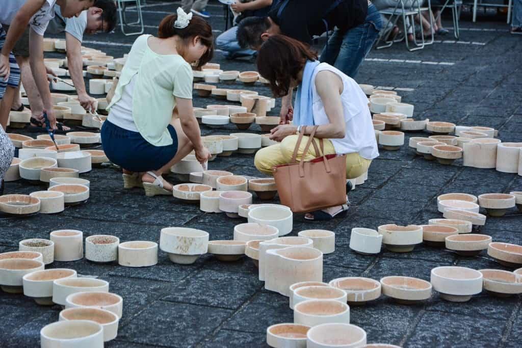 porcelain lanterns in Japanese summer festival in Imari, Japan