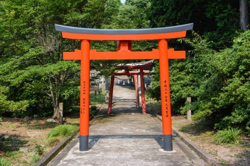 The red torii which leads to Kagamiyama shrine in Karatsu