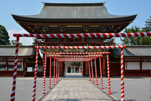 Some special decoration for the festival at Yutoku inari shrine , One of the Three Largest Shrines Dedicated to Inari in Japan.