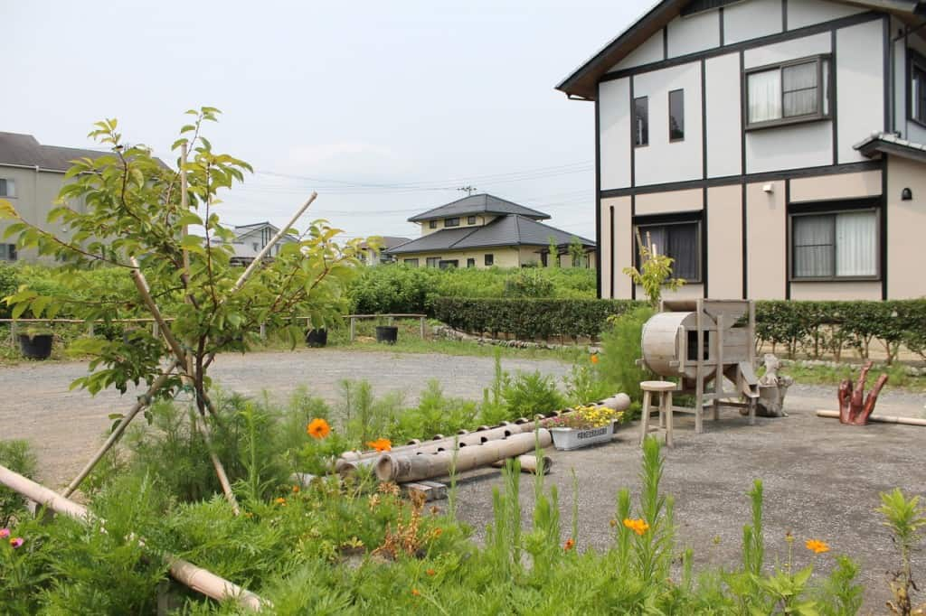A Small Public Garden in the Residential Area. Kitsuki is a castle town in the Oita Prefecture, Kyushu.
