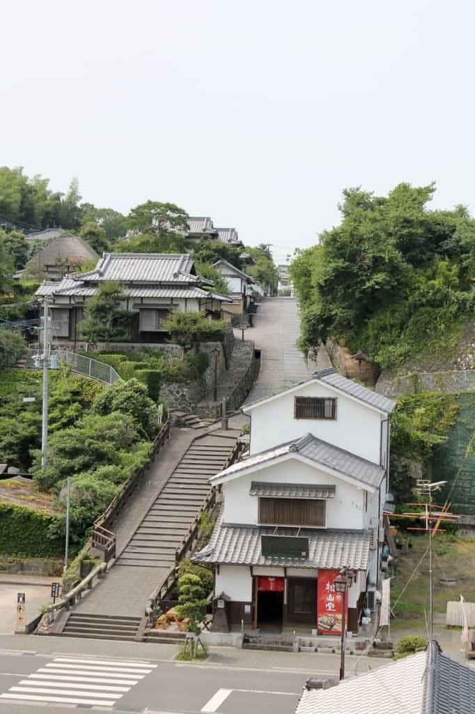 Stone Steps Leading to Kita-dai Samurai District.Kitsuki is a castle town in the Oita Prefecture, Kyushu.
