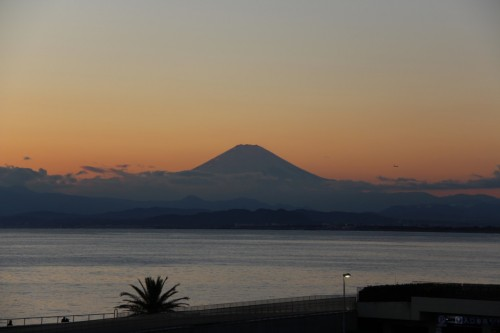 The view of Mount Fuji from Enoshima island, Kanagawa prefecture, Japan.