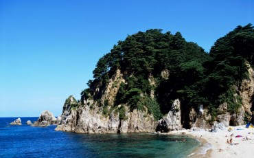 Sausage beach, a stunning coastline in Niigata prefecture, Japan.