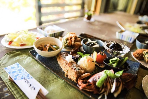 Delicious lunch plate at Murakami, Niigata prefecture, Japan.