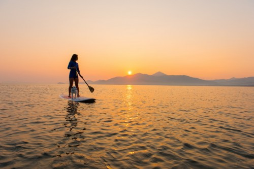sunset stand up paddle at Karatsu beach, Saga, Kyushu.
