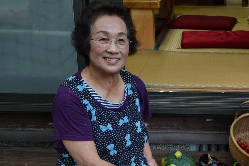 Mrs. Sato, the guesthouse owner, in Saiki city, Oita prefecture, Kyushu.