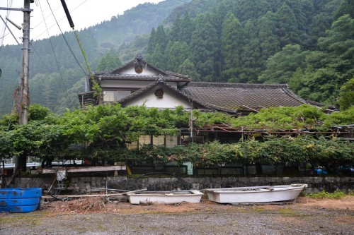Japanese traditional old house at Saiki city, Oita prefecture, Kyushu.