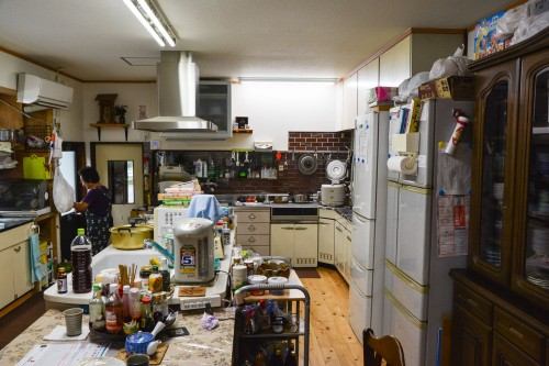 The kitchen at the farmer's inn, in Saiki city, Oita prefecture, Kyushu.