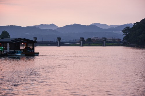 Dinner cruise in Hita city, Oita prefecture, Japan.