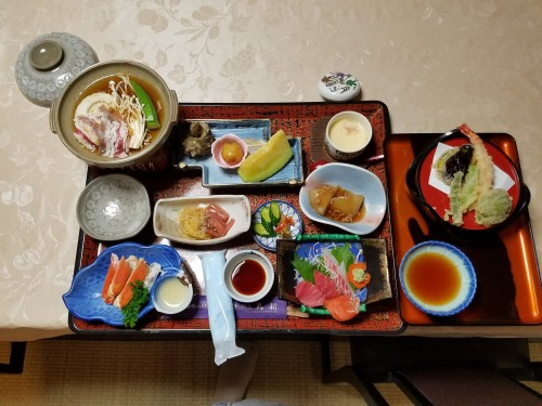 Dinner at the Minshuku, Yamakoshi, Niigata prefecture, Japan.