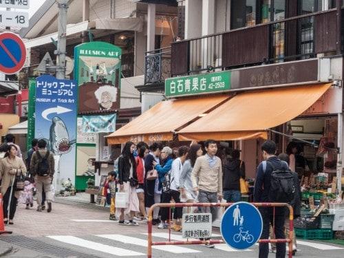 Kyu Karuizawa street, a busy shopping street in Karuizawa, Nagano, Japan.