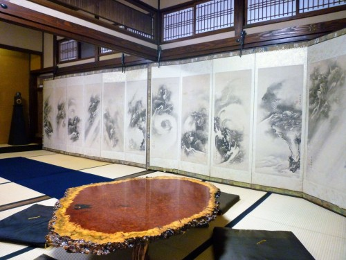 Kokonoe-en's folding screen collection on display.
