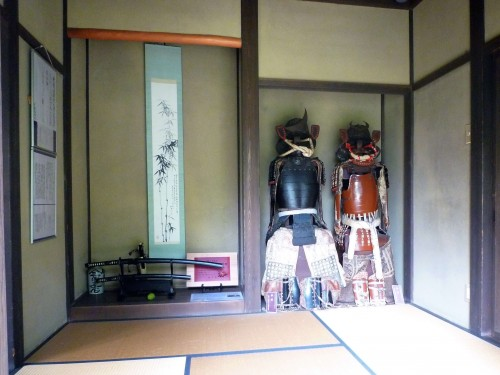 Armors on display inside a residence in Murakami.