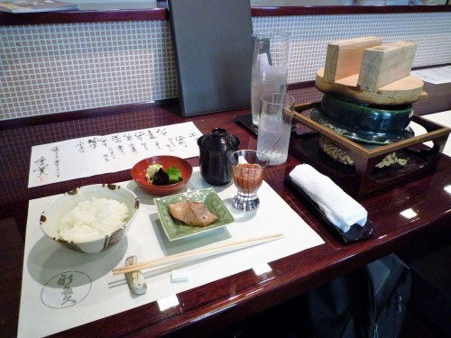 Dishes of Shintaku restaurant in Murakami, including salmon and a pear sorbet.