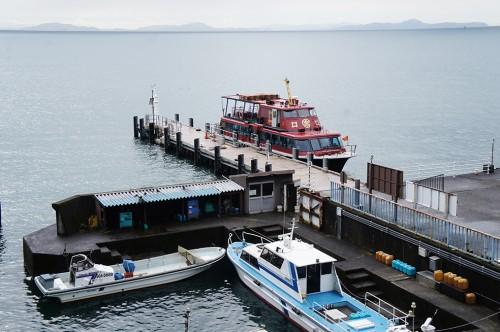 Take a Boat on Lake Biwa to Reach Chikubu island, Shiga, Japan.