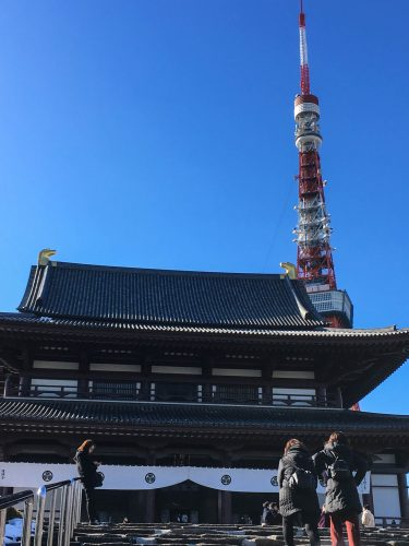 Zojo-ji Temple and Tokyo Tower, Japan.