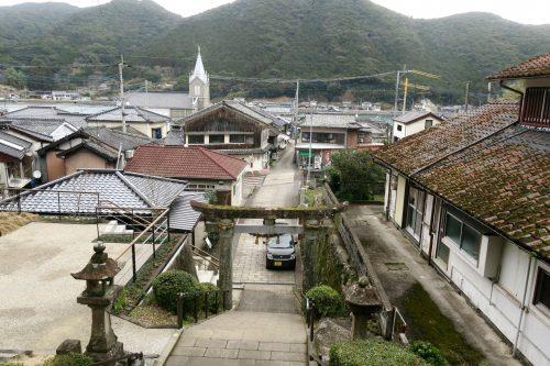 Sakitsu church at the coastal scenery of Amakusa islands in Kumammoto, Kyushu, Japan.