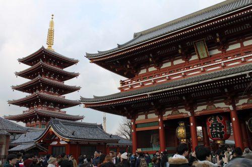 Sensoji Temple and five storied pagoda in Tokyo.