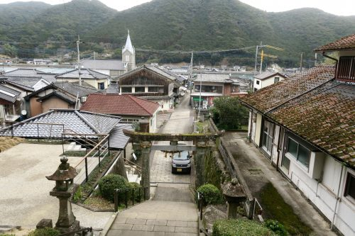 Sakitsu church at the coastal scenery of Amakusa islands in Kumammoto, Kyushu, Japan.
