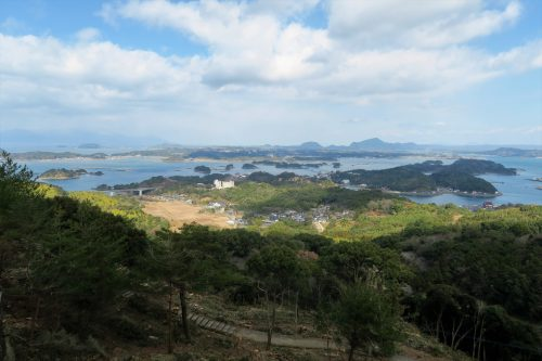 Senganzan Observatory at the coastal scenery of Amakusa islands in Kumammoto, Kyushu, Japan.