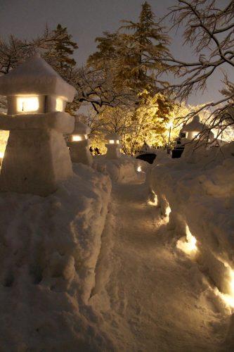 Uesugi Snow Lantern Festival in Yonezawa, Yamagata, Tohoku, Japan
