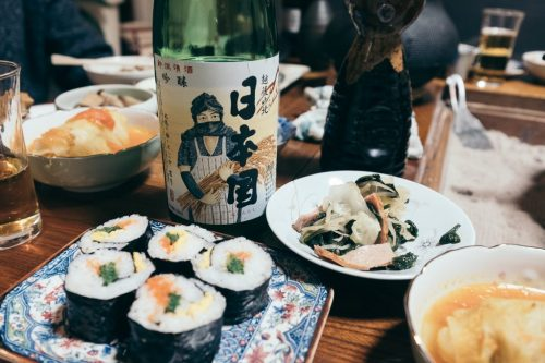 Sake at Dinner in Farm House in Niigata Prefecture Takane Village