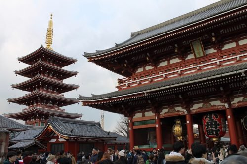 Sensoji Temple and five storied pagoda in Tokyo.