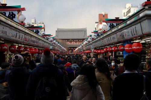 Nakamise-dori street to Sensoji Temple in Asakusa, Tokyo.
