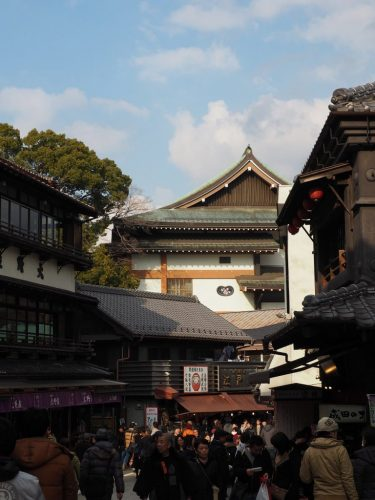 The historical Narita-san Temple and its shopping street near the Narita International Airport in Japan.