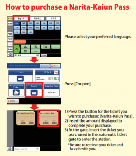 A simple procedure to buy the Narita-Kaiun Pass