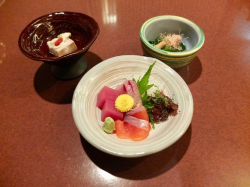 Sashimi and Appetizers at the Naeba Prince Hotel Matsukaze Restaurant