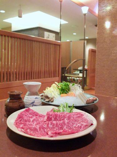 Shabu shabu Wagyu beef and vegetables at the Naeba Prince Hotel Matsukaze Restaurant