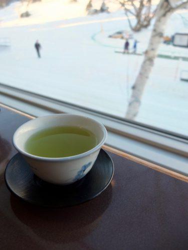 Green tea at the Matsukaze Restaurant, Naeba Prince Hotel.