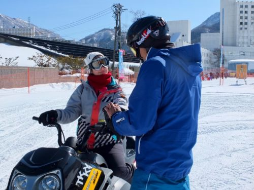 Learning how to ride a snowmobile at Naeba Prince Ski Resort.