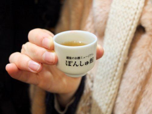 Drinking Sake at the Ponshukan Shopping Center, Echigo-Yuzawa Station.