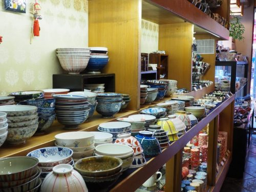 Japanese Pottery Store at Yanesen area  in Tokyo, Japan.
