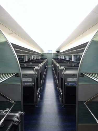 The stylish Skyliner which connects to Narita International Airport in Japan.