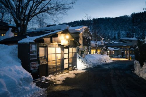 Snowy Onsen Ryokan Town in Yonezawa in Yamagata Prefecture