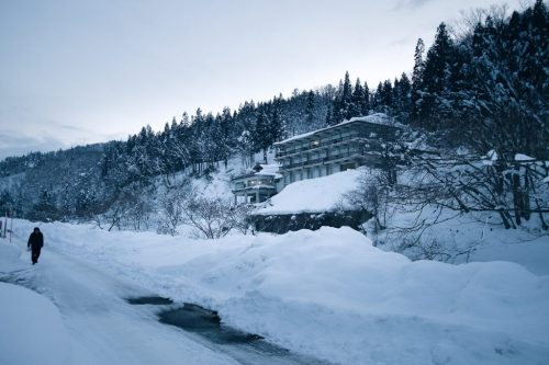 Snow Covered Hot Spring Village in Yonezawa Yamagata Prefecture