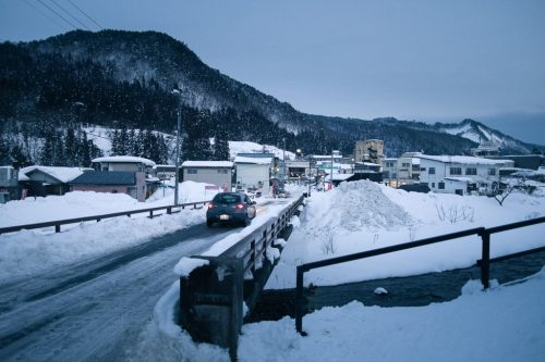 Snow Covered Roads in Hot Spring Village in Yonezawa Yamagata Prefecture
