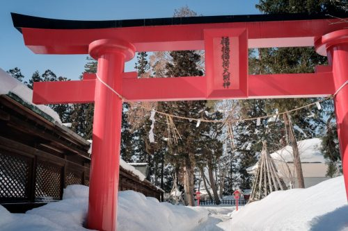 Torii Shrine Snow on Uesgui Shrine in Yonezawa City Yamagata