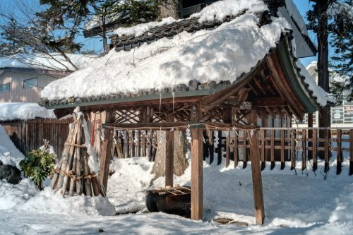 Uesgui Shrine in Winter Snow in Yonezawa City Yamagata